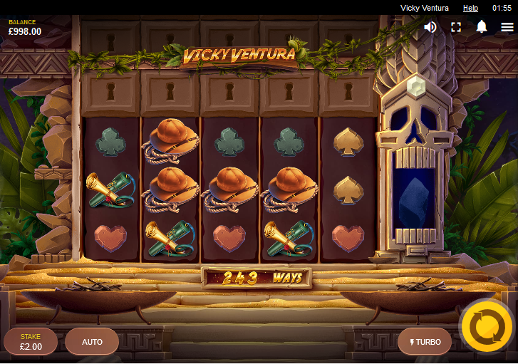 Screenshot of the base game in the Vicky Ventura slot (Red Tiger)