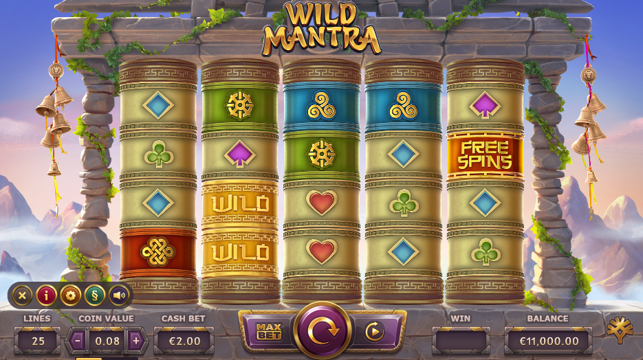 Screenshot of the base game in the Wild Mantra Slot (Yggdrasil Gaming)