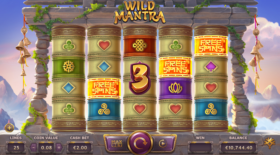 Screenshot of a big win on the Wild Mantra Slot (Yggdrasil Gaming)