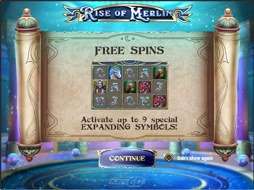 Screenshot of the Free spins trigger screen in the Rise of Merlin Slot by Play'n go