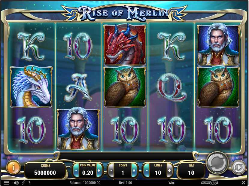 Screenshot of the base game in the Rise of Merlin Slot by Play'n go