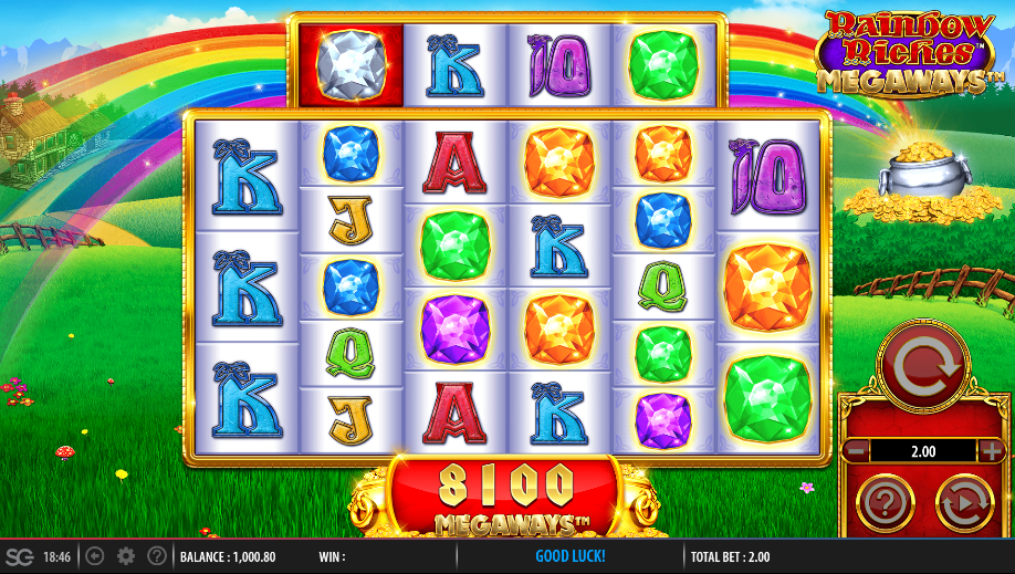 Screenshot of the base game in the Rainbow Riches Megaways Slot by Barcrest