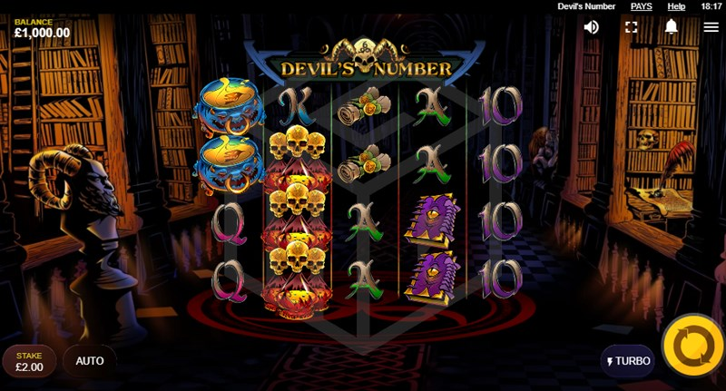Screenshot of Devil's Number Slot base game and main screen (Red Tiger)
