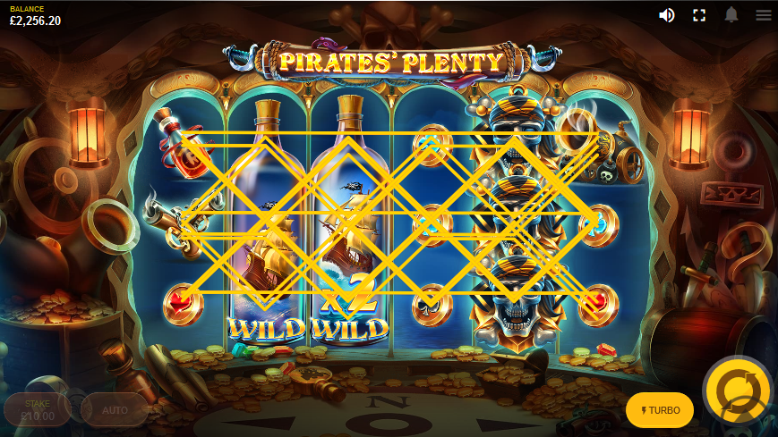 Screenshot showing the design and symbols of the Pirate's Plenty The Sunken Treasure slot game by Red Tiger