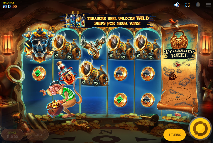 Screenshot showing a special feature in the Pirates' Plenty The Sunken Treasure slot by Red Tiger