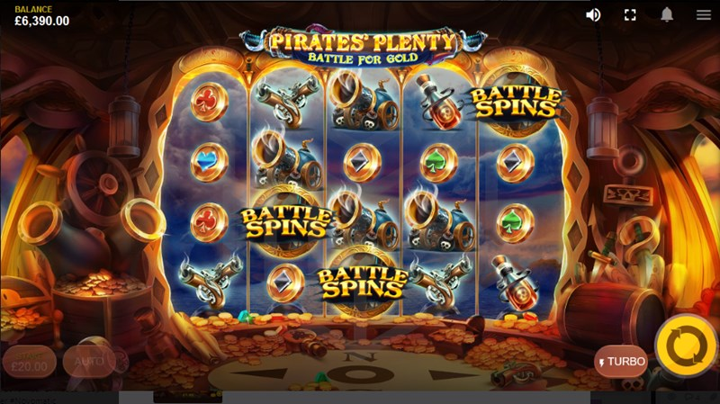 Pirates' Plenty: Battle for Gold slot battle spins with extra row