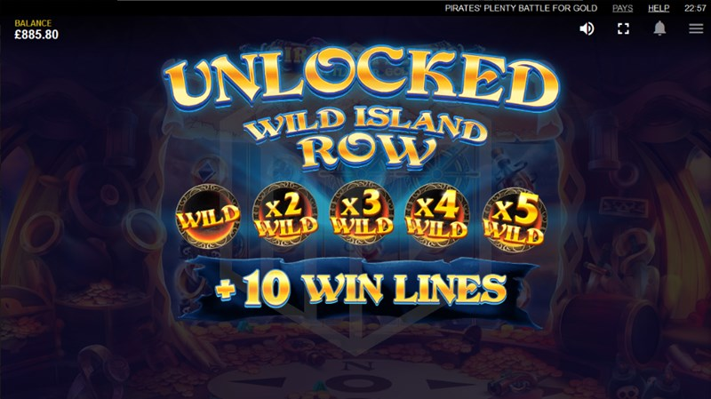 Pirates' Plenty: Battle for Gold slot wild island row