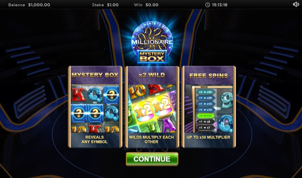 Screenshot showing the main screen of the Who Wants To Be a Millionaire Mystery Box slot by Big Time Gaming