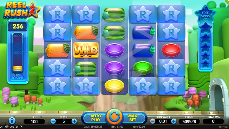 Screenshot of the Base Game in the Reel Rush 2 Slot by NetEnt