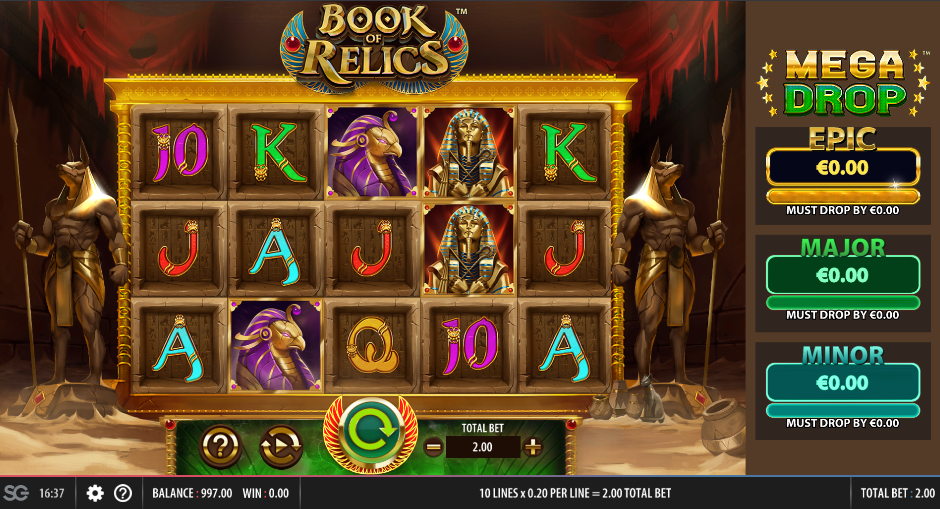 Screenshot of the Base Game in the Book of Relics Slot by Red 7