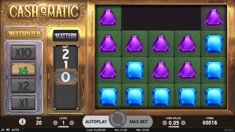 Screenshot of the Base Game in the Cash-O-Matic Slot by NetEnt