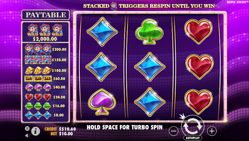 Screenshot of the Base Game in the Triple Jokers Slot by Pragmatic Play
