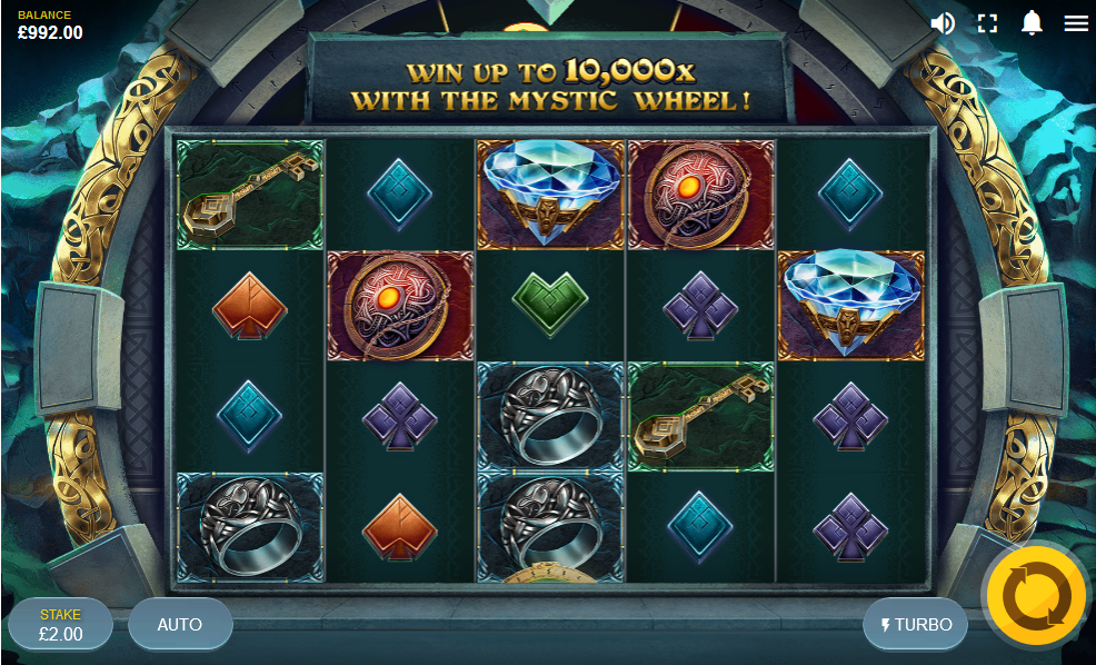 Screenshot of the Base Game in the Mystic Wheel Slot by NetEnt