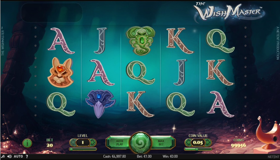 Screenshot of the Base Game in the Wish Master Slot by NetEnt