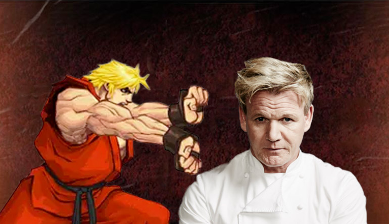 The feature image with the two main characters of each their own epic tale; Gordon Ramsay and Street Fighter