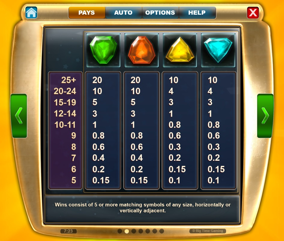 Star Clusters pay table 2 - Megaclusters Slots