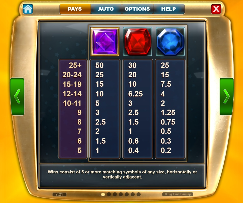 Paytable Star Clusters Megaclusters Paytable - high paying symbols