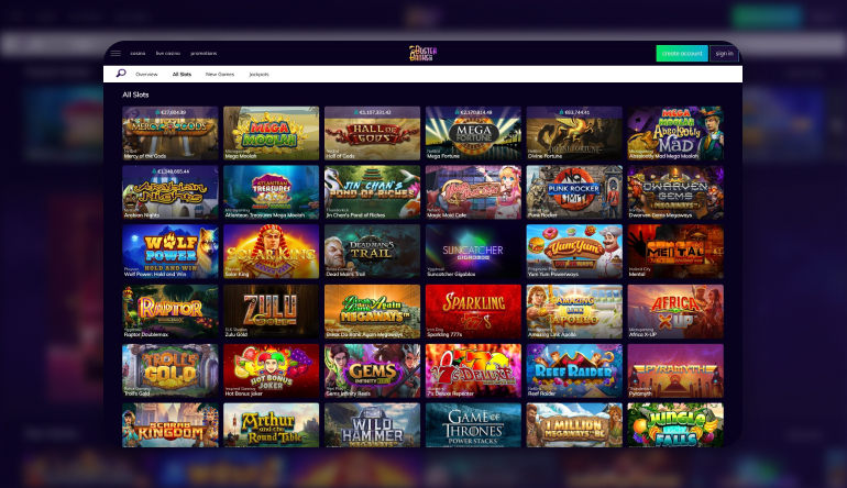 Games available on Buster Banks Casino