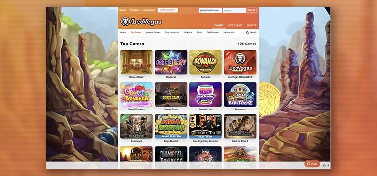 Types of Games available on LeoVegas Casino