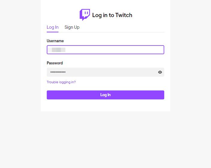 Twitch login window