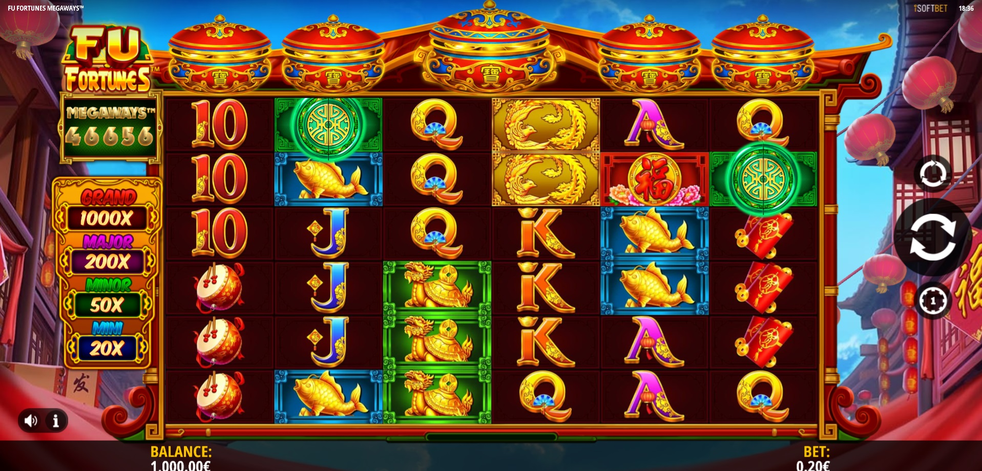Fu Fortunes Megaways Main game reels