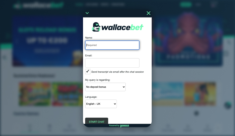 Customer Support at wallacebet