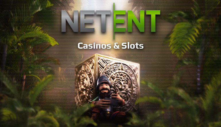 Banner for the Top Ten NetEnt Casinos and Slots article on CasinoGrounds, with Gonzalo Pizzaro, the main character in NetEnts classic slot Gonzo's Quest