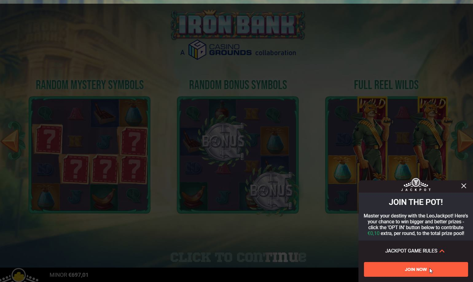 LeoJackpots Opting in during gameplay on Iron BAnk