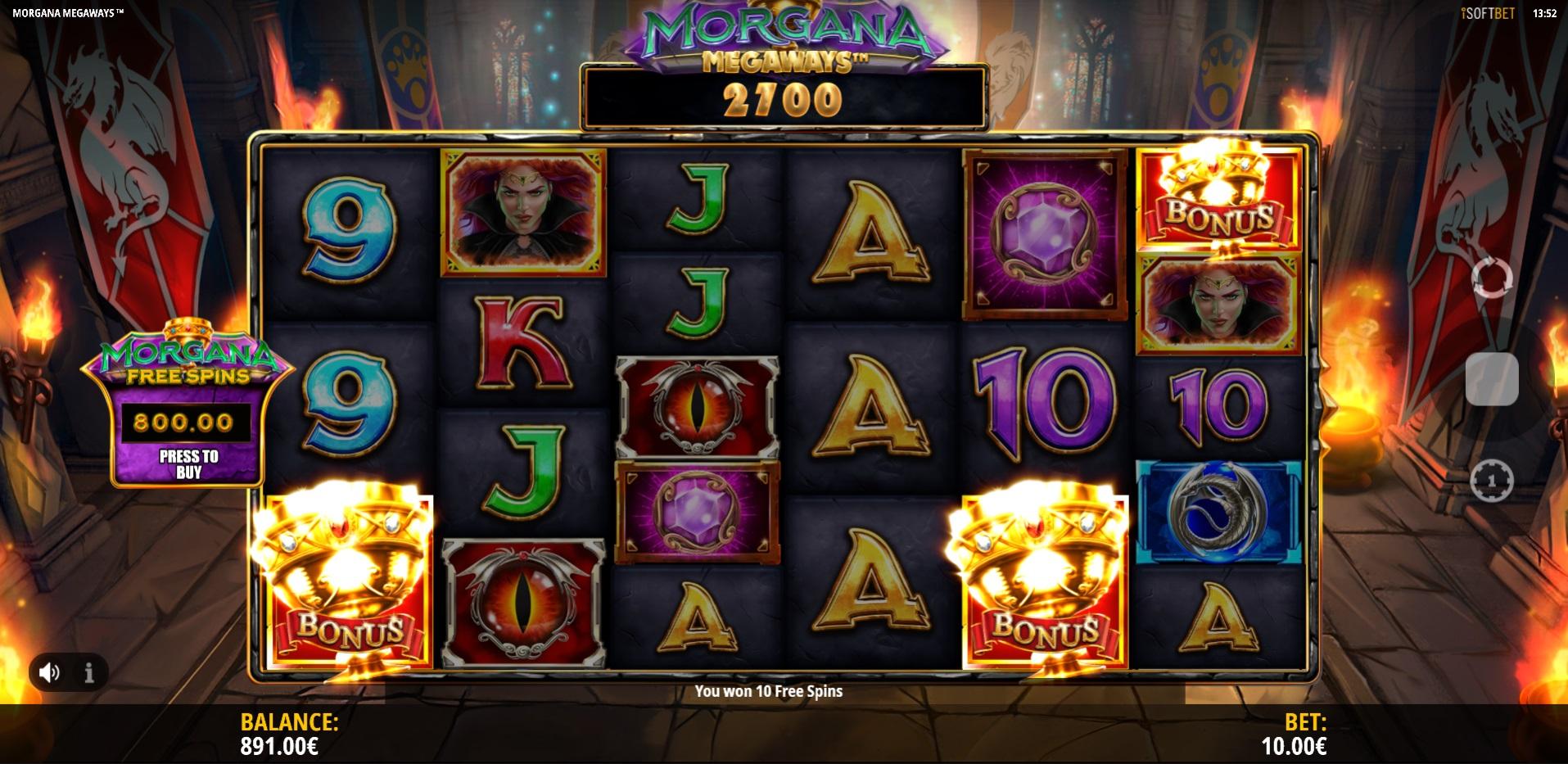 Morgana Megaways  Freespins trigger