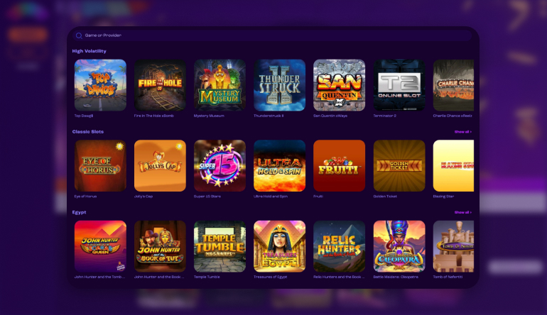 Game lobby on Wheelz casino