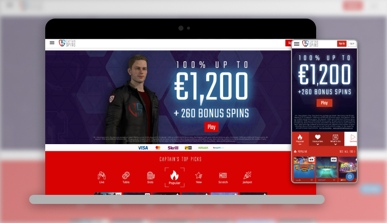 Captain spins intro image showing how the casino looks on different devices