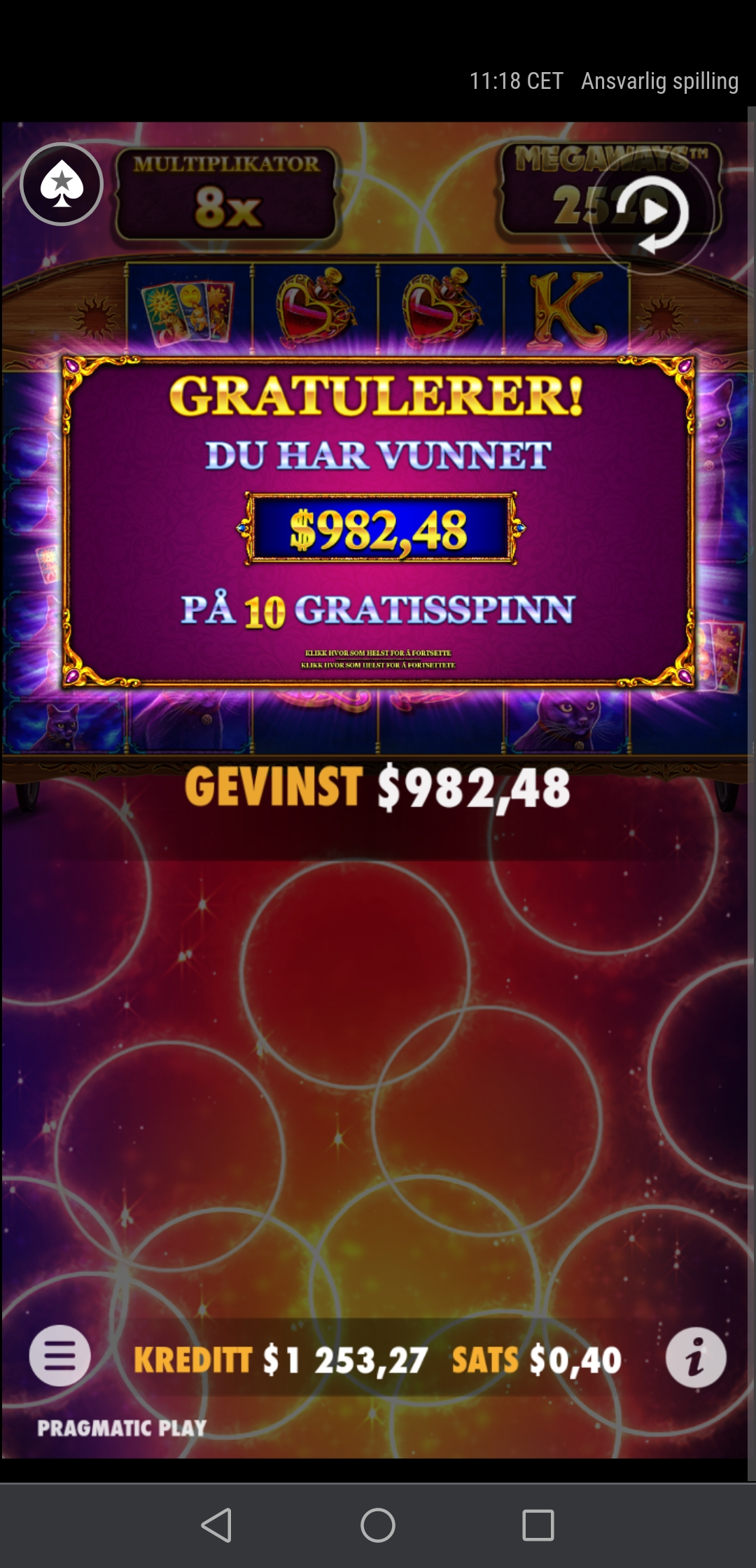I won 982 USD on a 0.40 usd stake on a Pragmatic Play slot during free spins. Omfg.