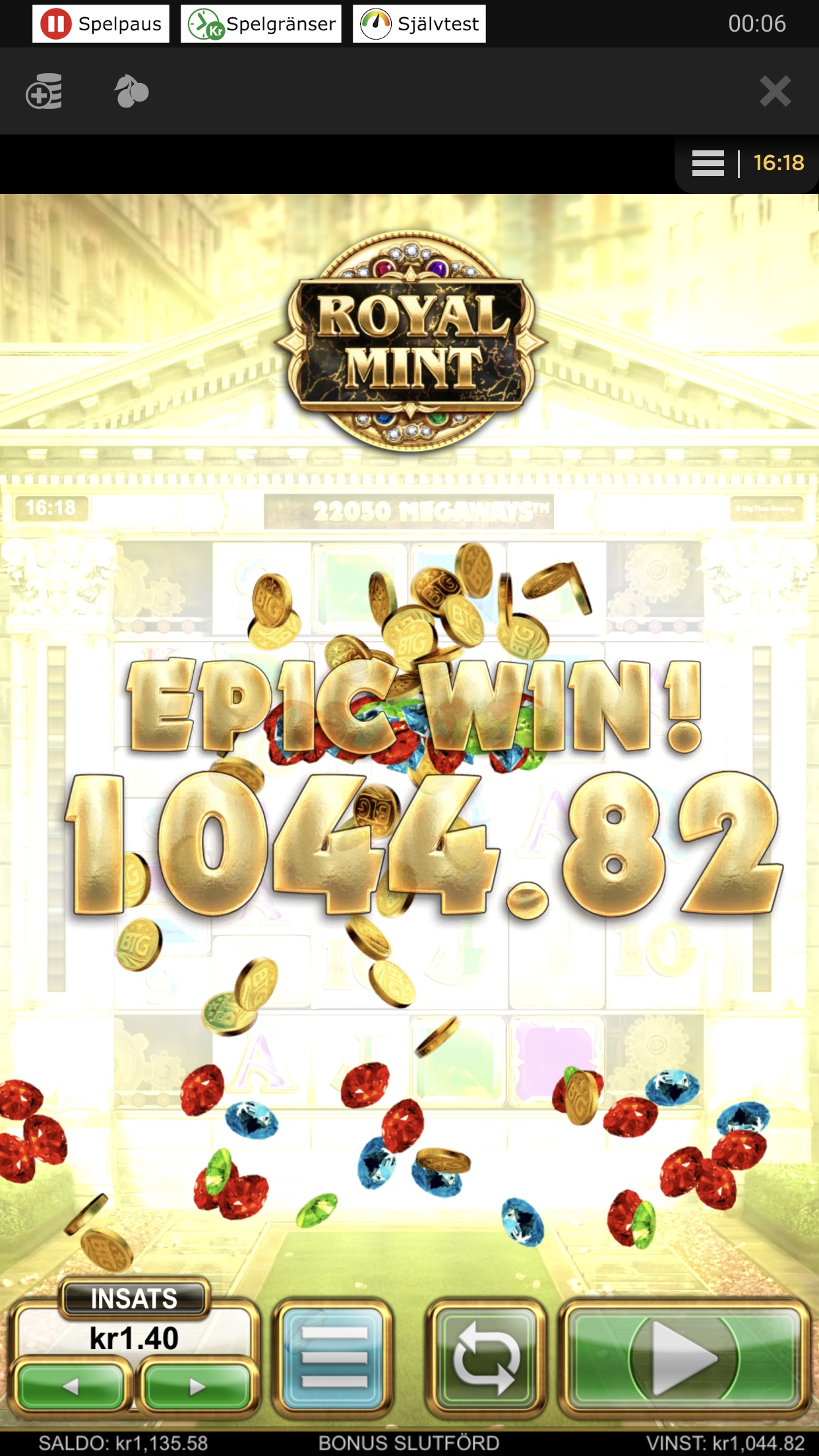 I was going to grind royal mint, but after 5 spins I got regular bonus and payed around 800x 🤩