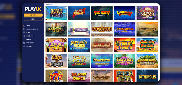 The PlayUK Casino Game Lobby
