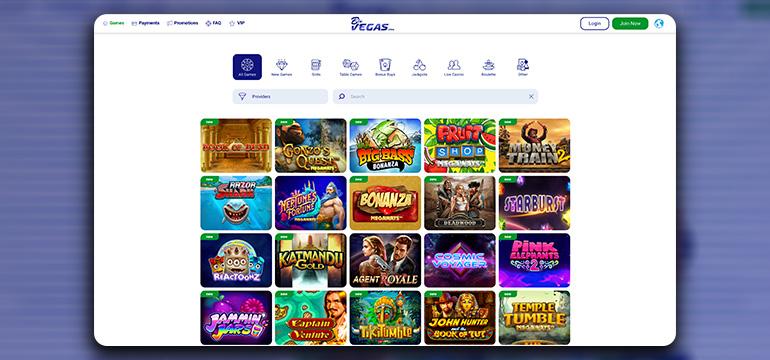 The BluVegas Casino Game Lobby
