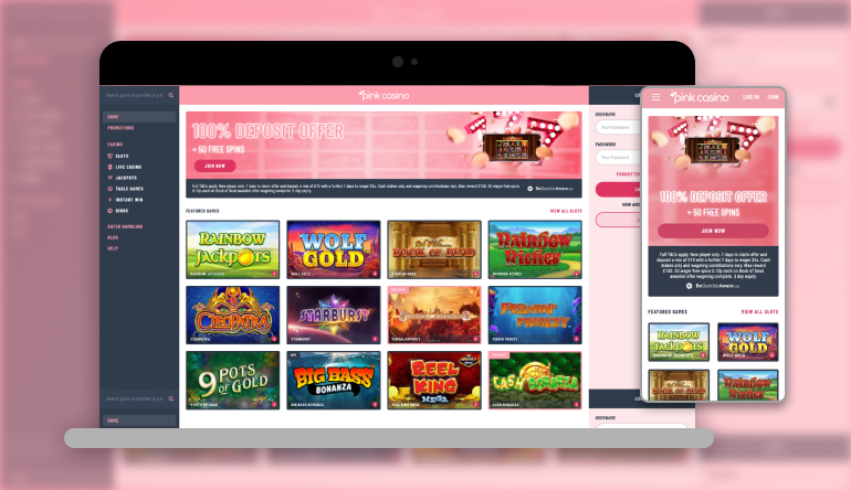 pink casino lobby on mobile and desktop