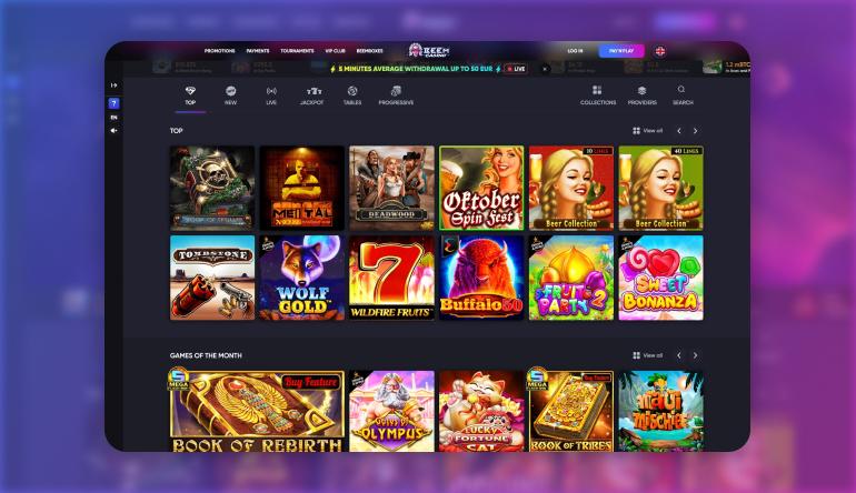 The Beem Casino Game Lobby