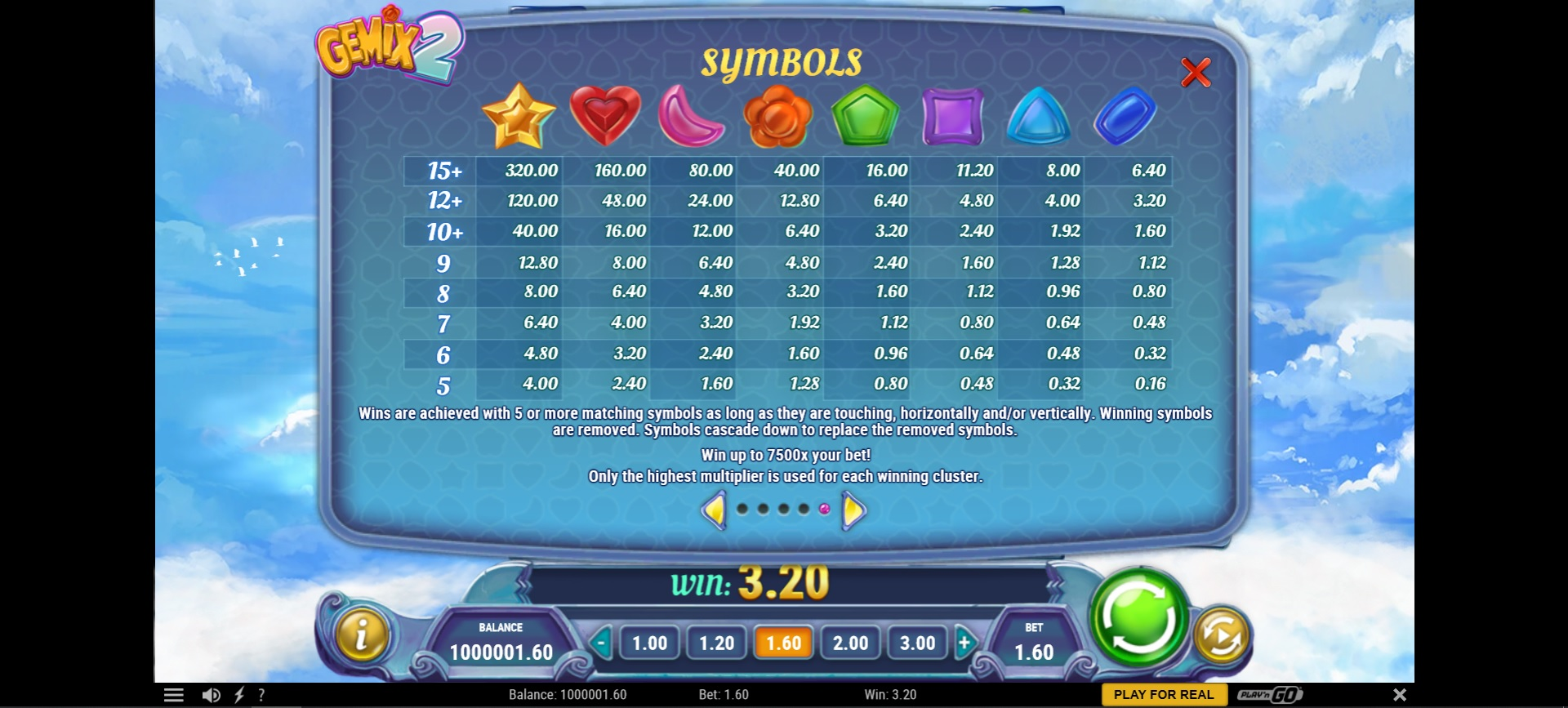 Gemix 2 paytable