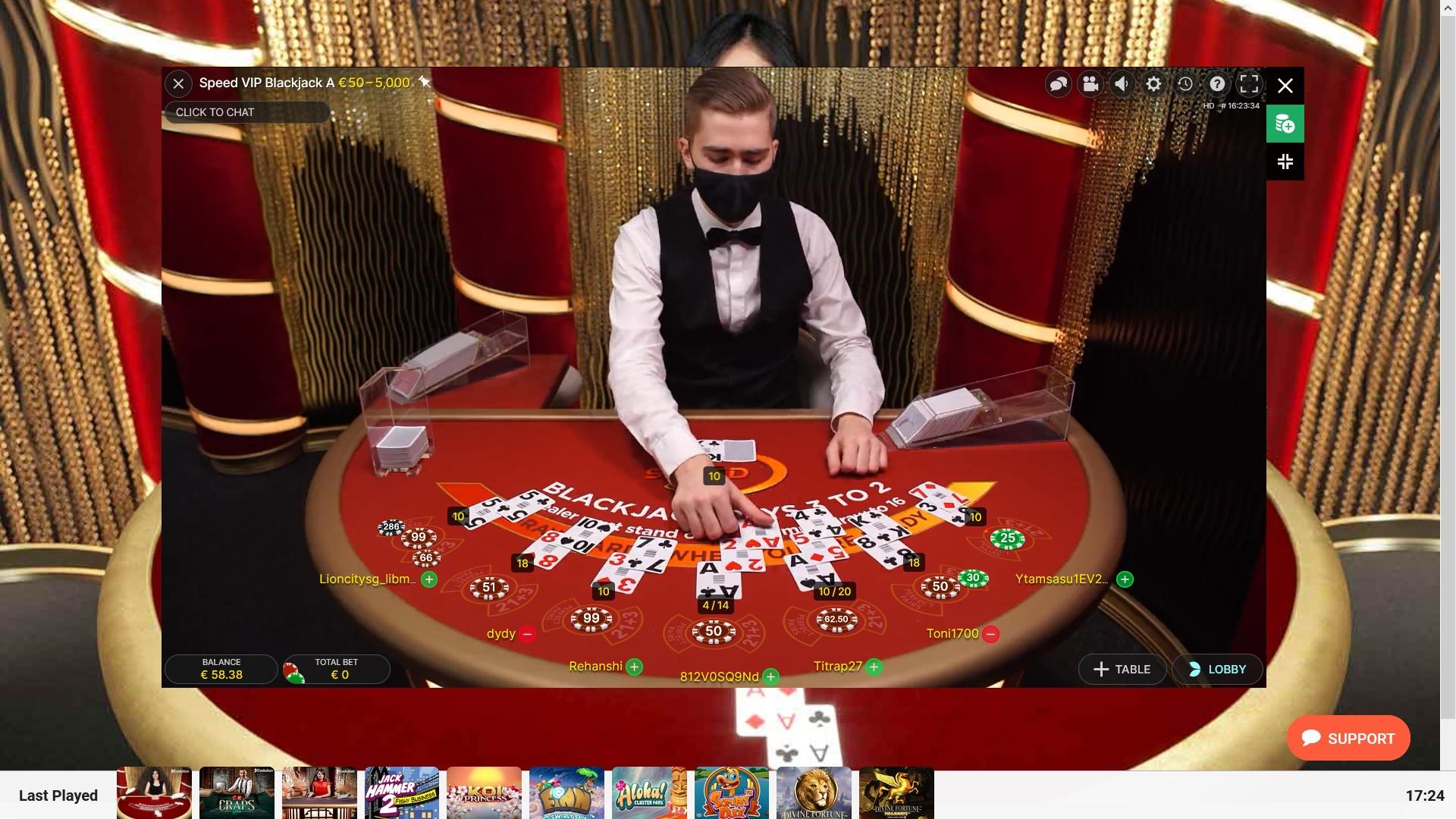 Evolution Gaming presents Live Speed Blackjack