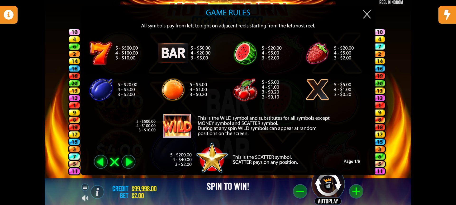 Hot to Burn: Hold & Spin – Paytable
