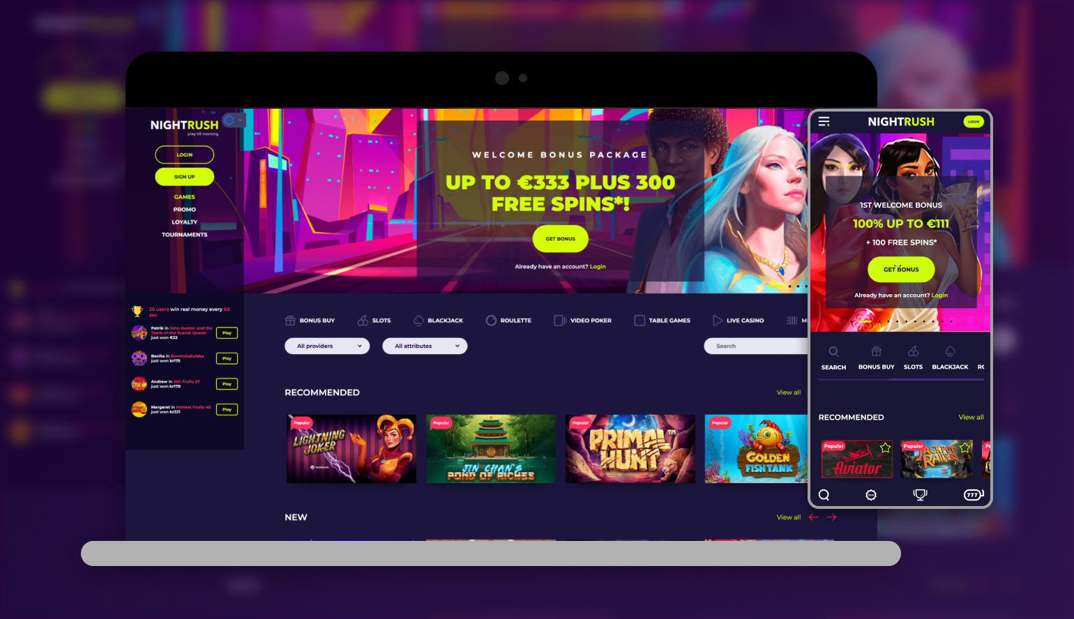 Nightrush casino on different devices