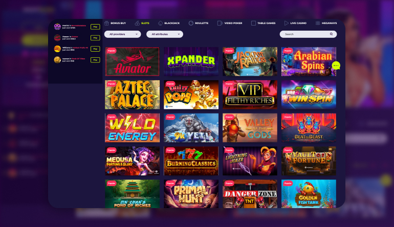 Type of Games Available on NightRush Casino