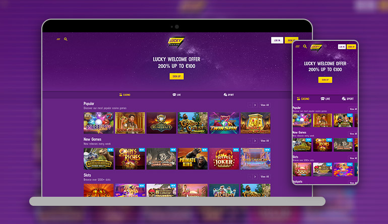 Lucky Casino Lobby on mobile and desktop