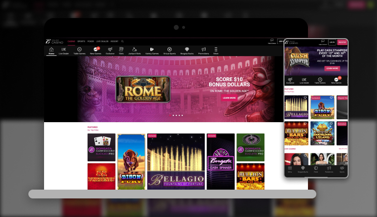 A screenshot showing what Borgata Casino looks like on both desktop and mobile devices