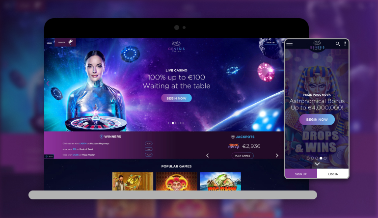 Image showing Genesis Casino on mobile and desktop