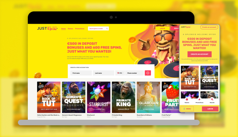 Image showing Justspin Casino on mobile and desktop