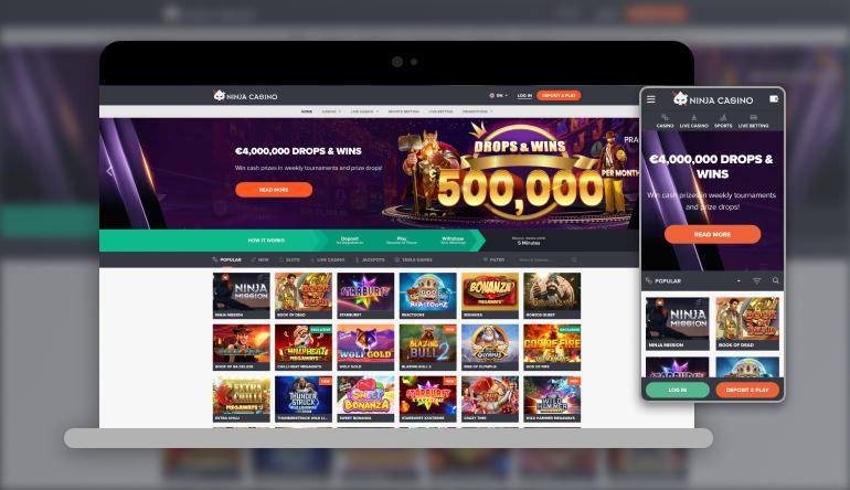 Image showing NinjaCasino  on mobile and desktop
