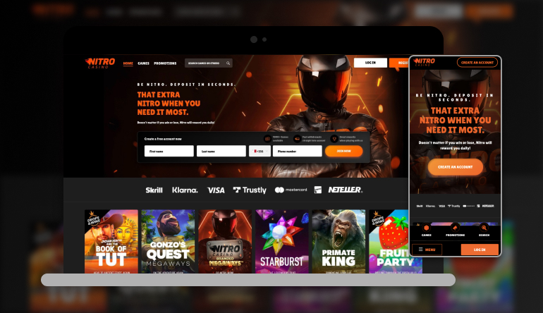 Image showing Nitro Casino on mobile and desktop