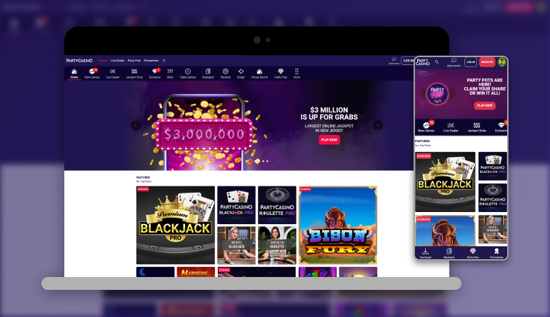 Image showing PartyCasino NJ on mobile and desktop