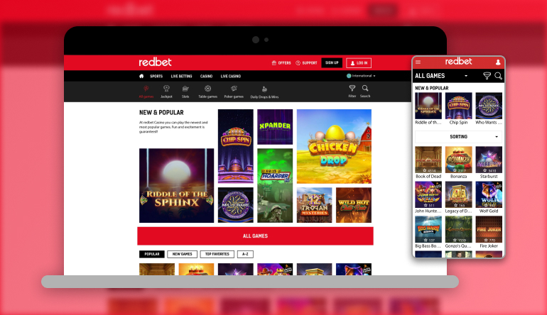 Image showing Redbet casino on mobile and desktop